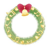音符のクリスマスリースイラスト素材赤リボンと金色