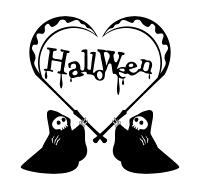 Halloweenの文字が入った死神のイラスト素材黒単色