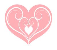 ピンクのハートに白い蔓模様