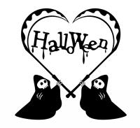 ハロウィン白黒イラスト素材 死神の鎌ハート