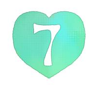 手描き数字7緑色のハート