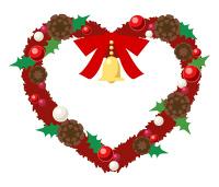 赤いクリスマスリースのイラスト素材ハート型のリースにリボンとベル