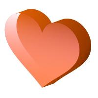 透明感のある立体的なオレンジハート