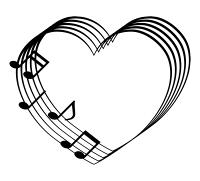 音符と五線のハートイラスト素材