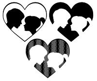 向き合うカップルイラスト白黒グレーバージョン