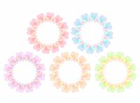 5色の輪っかフレーム素材 ハート模様