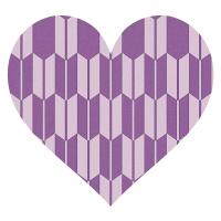 矢絣模様の紫色ハート