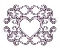くすんだ色の装飾ハート枠銀