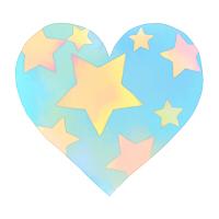 水彩星模様ハートブルー