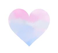 水彩風ハート 水色に紫とピンクが混色