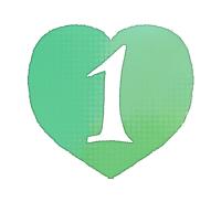手描き数字1緑色のハート