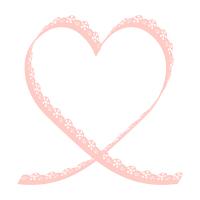 レース風リボンのミニハートフレーム細長薄ピンク