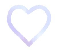 手描き線で描かれたハート にじんだ青紫