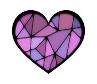 ステンドグラス風ハート紫色