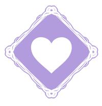 ひし形の枠に白抜きハート紫