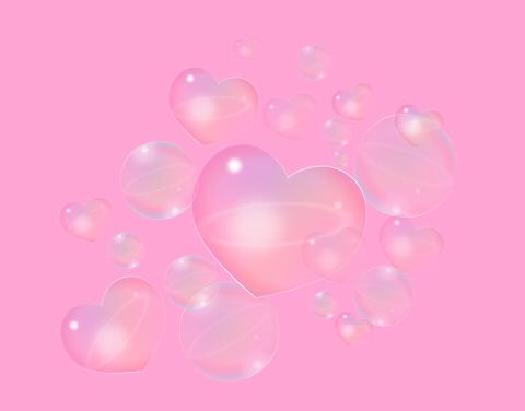 透明度のサンプル散らばるシャボン玉とハート
