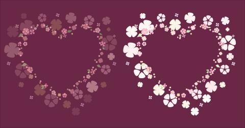透過サンプルお花のハートフレーム