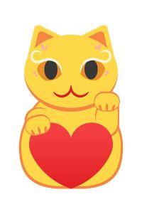 左手をあげている黄色い招き猫のイラスト素材