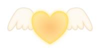 白い羽つきハートマーク黄色