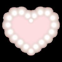 白くぼやけた丸が連なったハートフレーム 内側は淡いピンク色