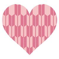 矢絣模様のピンクハート