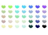 フリー素材アイコンセット 緑や水色、青などの淡い色からくすんだ色まで35色のハート