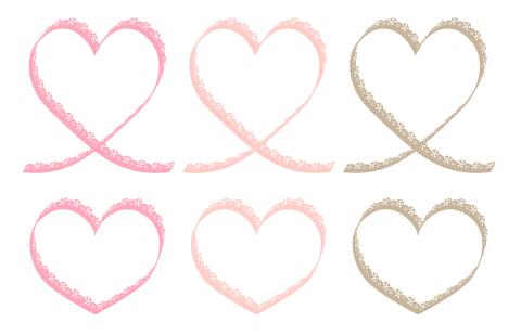 装飾レースリボンハートのミニフレームイラスト3色ピンクとベーシュ