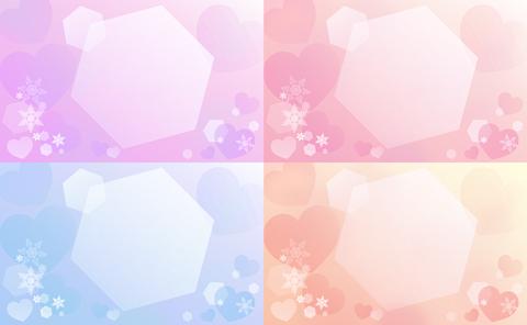 """背景素材雪の結晶と六角形とハート"""""""