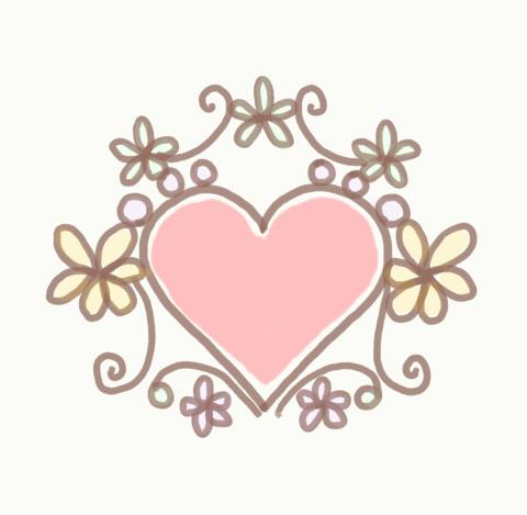 素朴な感じの手描きフレーム ハートにお花の装飾 パステルカラー