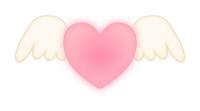 白い翼とハートマークピンク