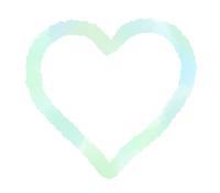 手描き線で描かれたハート 黄緑とブルーの混色