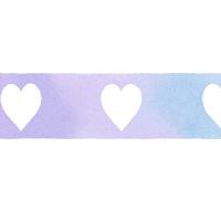 水色と紫色が混ざった水彩風ラインに白抜きのハートマーク