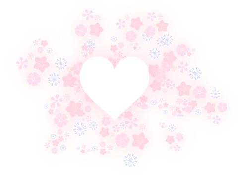 透過花模様に白くくり抜かれたハート。淡いピンク色のイラスト素材