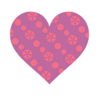 紫とピンク色のパターンハート