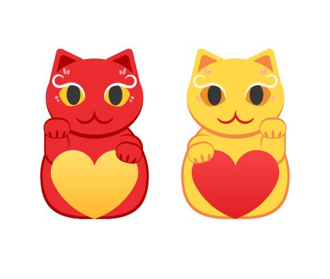 赤い招き猫と黄色い招き猫のフリー素材 ハートを抱えている二種類の招き猫イラスト