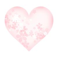 透過イラスト素材透け透けの桜とハート右