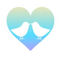 小鳥のつがいシルエットハートマークブルー
