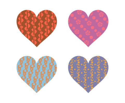 様々なパターン模様のハートマーク 茶色等地味な色合い