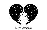 クリスマスツリーシルエットハート白地透過