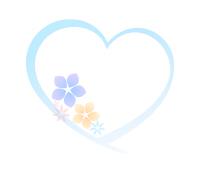 花ハートフレーム水色