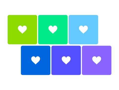 シンプルな白抜きのハート素材 緑から青色