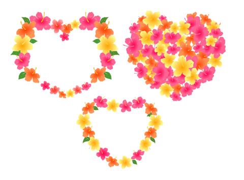 花のハートイラスト ハイビスカス