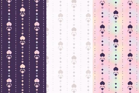 サンプルシームレスパターンのハートライン3種