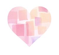 水彩風重なる四角模様ピンクハートマーク