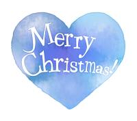 クリスマス手書き文字水彩風ハート水色