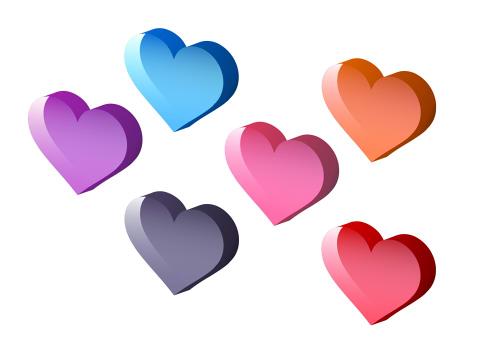 フリー素材透明感と立体感のあるハートマーク色はピンク、紫と赤、黒、水虫とオレンジ
