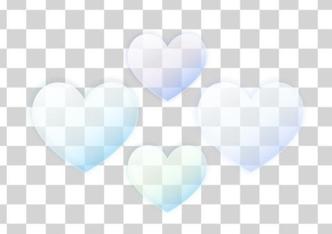 サンプル薄青いハートマーク半透明セット
