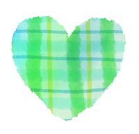 緑チェック柄の手描きハートマーク