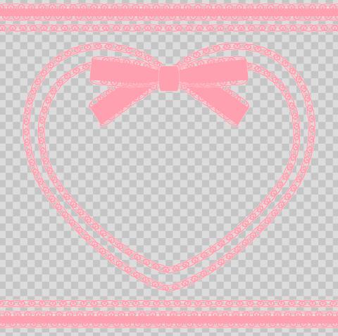 フリー素材のサンプル リボン付きハートフレームピンク
