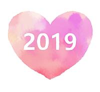 2019ハート素材水彩風ピンク